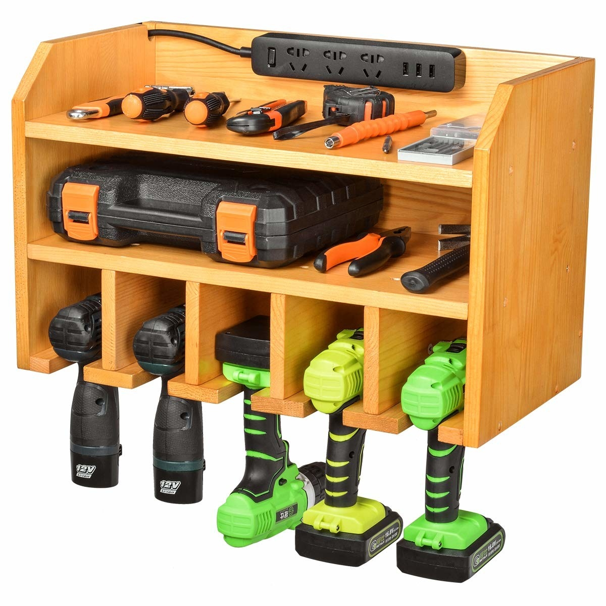 wall mounted wood open shelf system with compartments to store power tools and hand tools