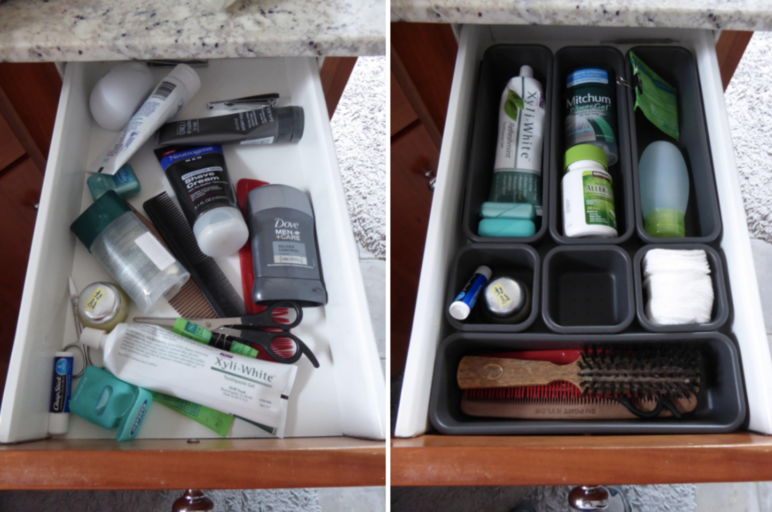 before/after image of reviewer's cluttered drawer, and after showing more organization with bins