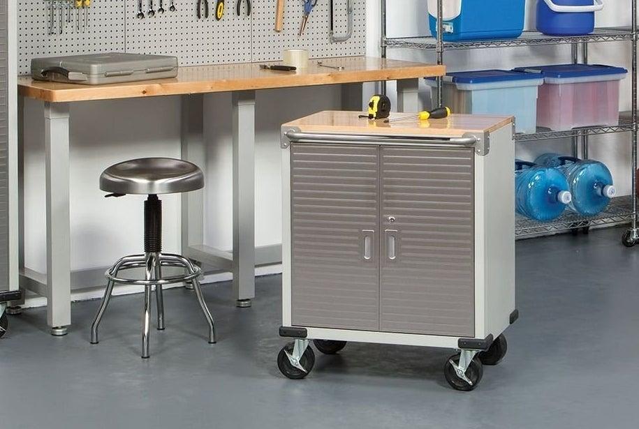 garage setup with lockable waist-height cabinet