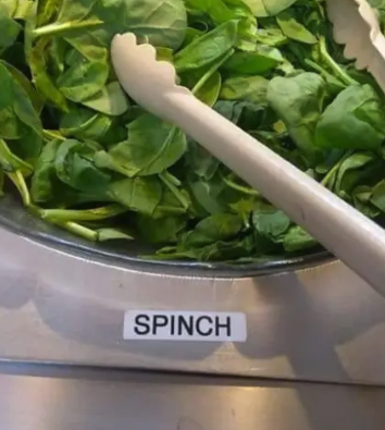 "Spinach container reading ""spinch"""