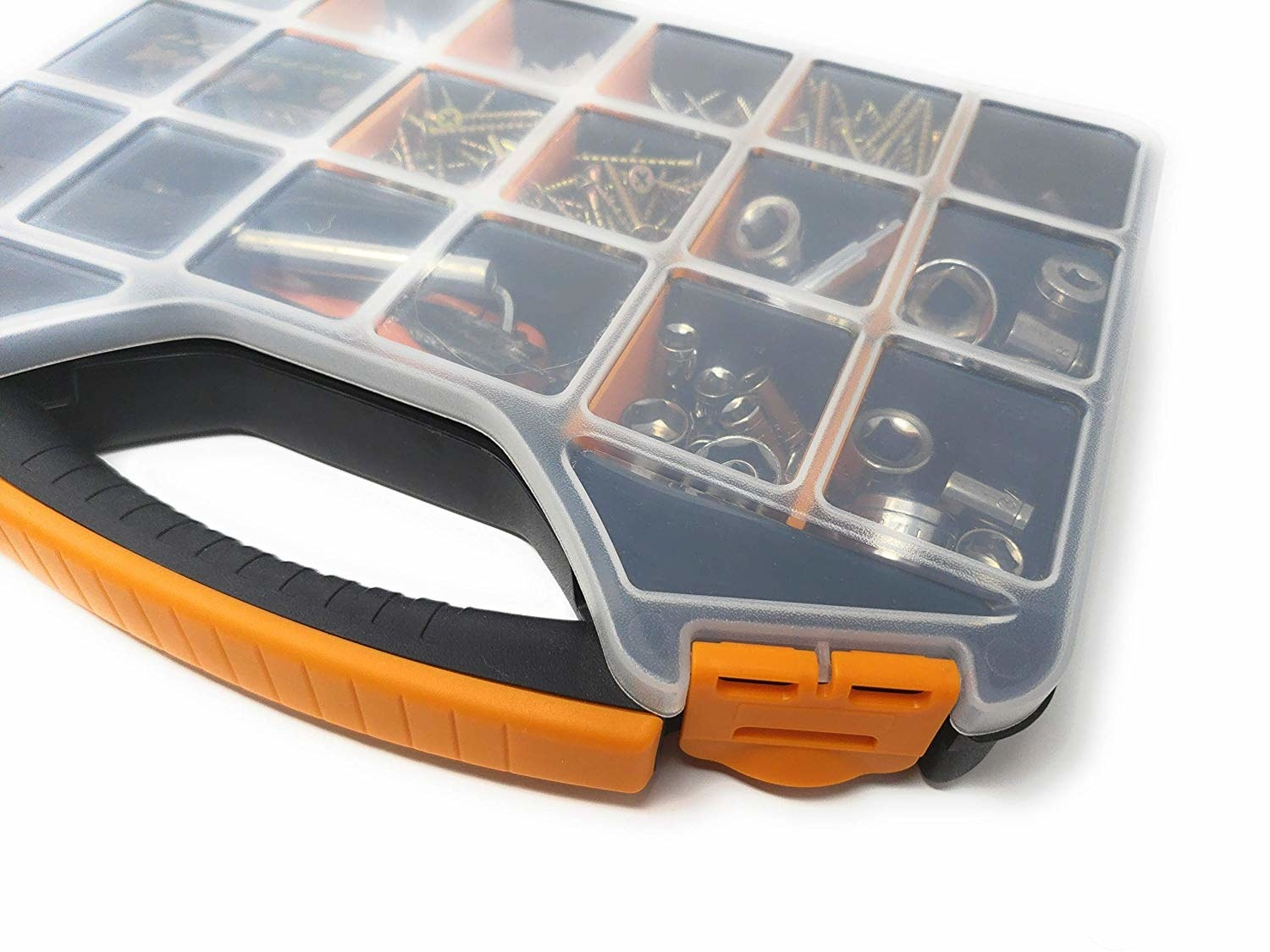 tool and hardware pieces organizer with compartments and a clear top