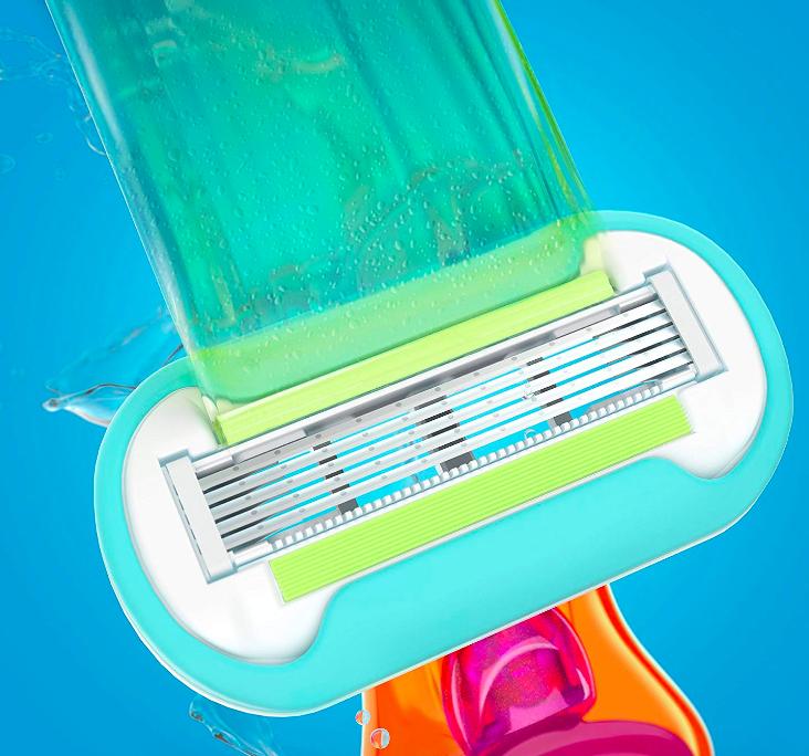 Small five-blade razor with gel moisturizing sides