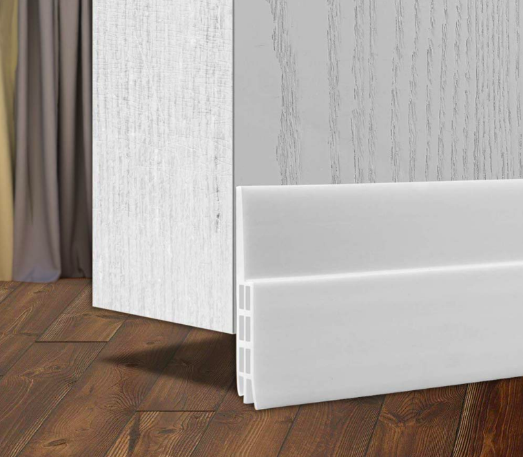 Space between door and floor covered by connected draft stopper