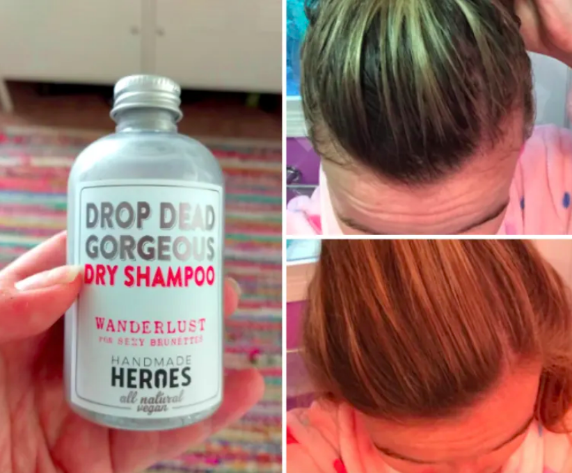 Reviewer before-and-after with greasy hair before and a clean ponytail after use