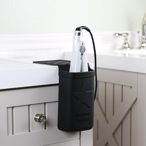 Silicone holster on edge of counter with straightener inside