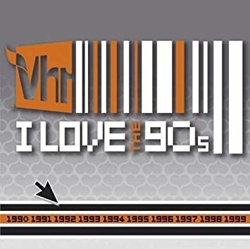 "The grey and orange title card for VH1's ""I Love the '90s"""