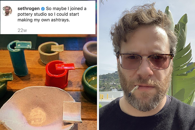 I'm Obsessed With Seth Rogen Joining A Pottery Studio And Making His Own Vases And Ashtrays