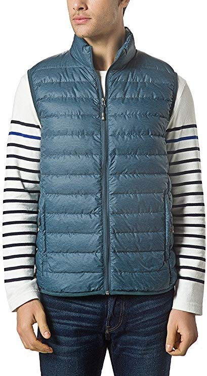 model wearing a striped long sleeve shirt and jeans with light blue packable down vest