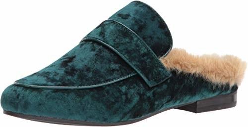 teal velvet slip on mule shoe with faux fur lining