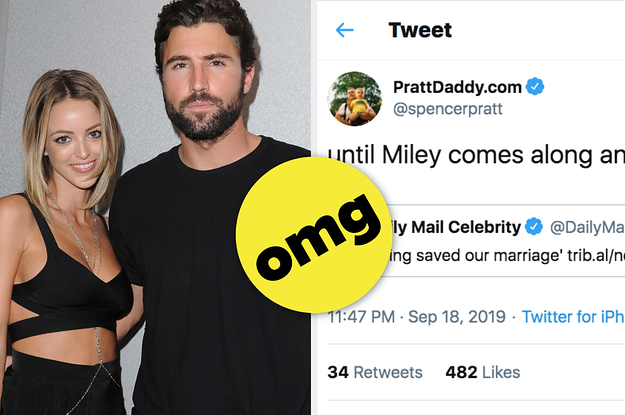 "Spencer Pratt Posted A Savage Tweet About Brody Jenner And Kaitlynn Carter's ""Open"" Marriage And Her Relationship With Miley Cyrus"