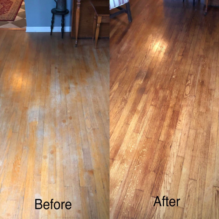 A customer review before and after photo showing their upgraded floors