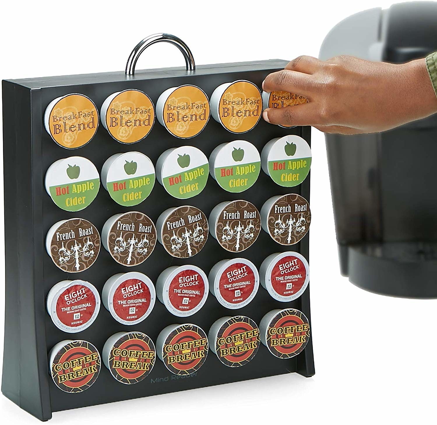stand with a handle on top and the pods sticking in the front so you can see which coffee pod is which
