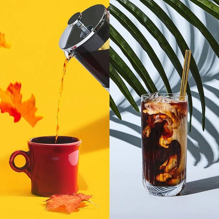 to the left: coffee being poured into a mug, to the right: cold brew coffee in a glass