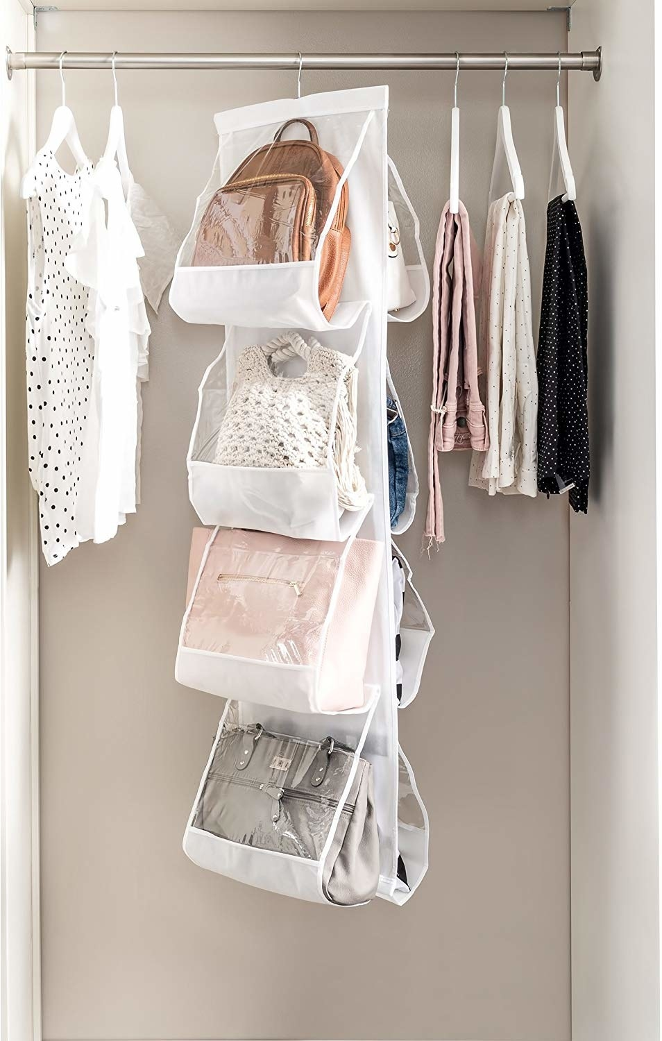 Eight purses in the organizer