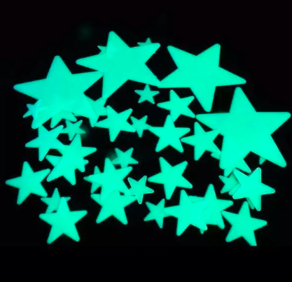 A group of greenish glow-in-the-dark stars against a black background