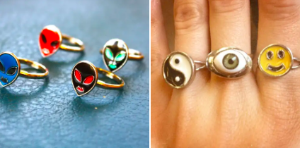 alien, peace sign, and smiley face rings
