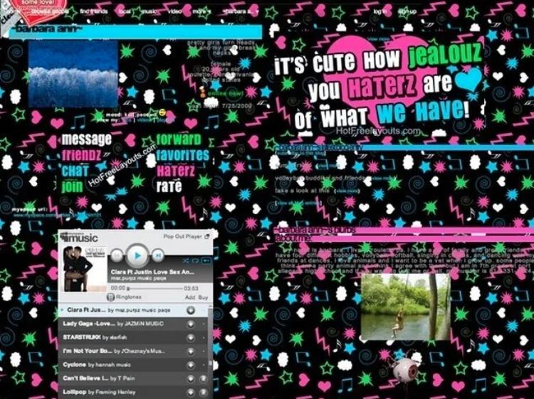 a messy myspace page