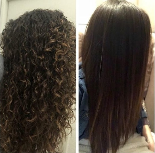 Side by side image of reviewer with ringlet curls and then with pin straight hair