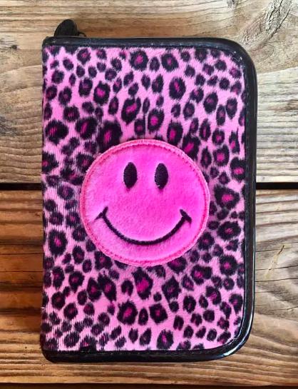 smiley pink leopard-print planner
