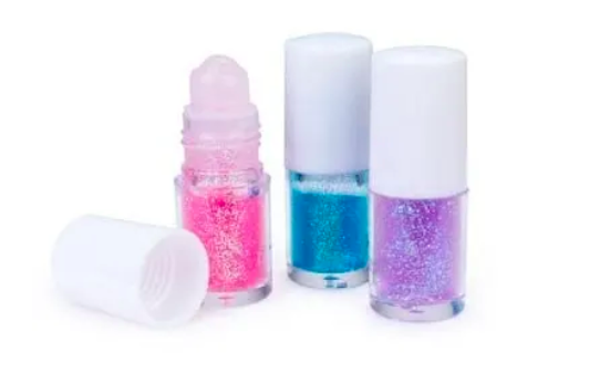 pink, purple, and blue glitter roll on