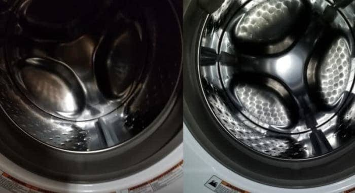 On the left, the insider of a washing machine looking dark and dirty, and on the right, the same washing machine now looking lighter and shinier