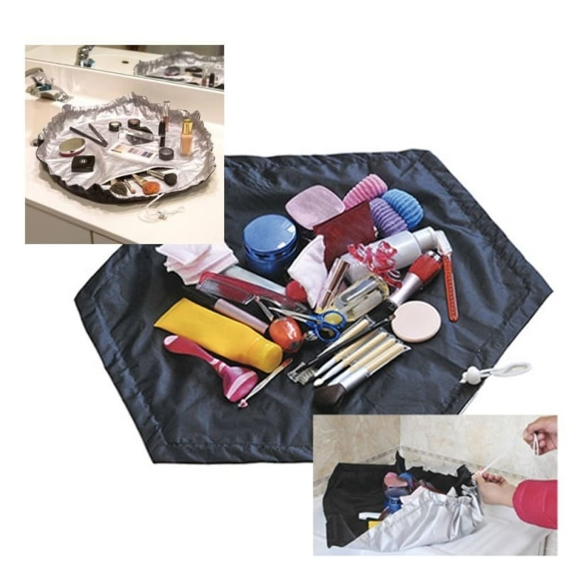 The cosmetic bag laid out flat with the various products on top of it, and a person closing it shut to demonstrate it can be taken on-the-go
