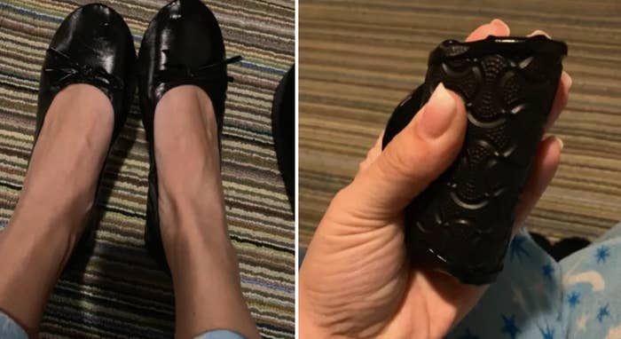 (left) reviewer showing the black flats on their feet (right) reviewer showing how small the flats roll up to fit in their hand