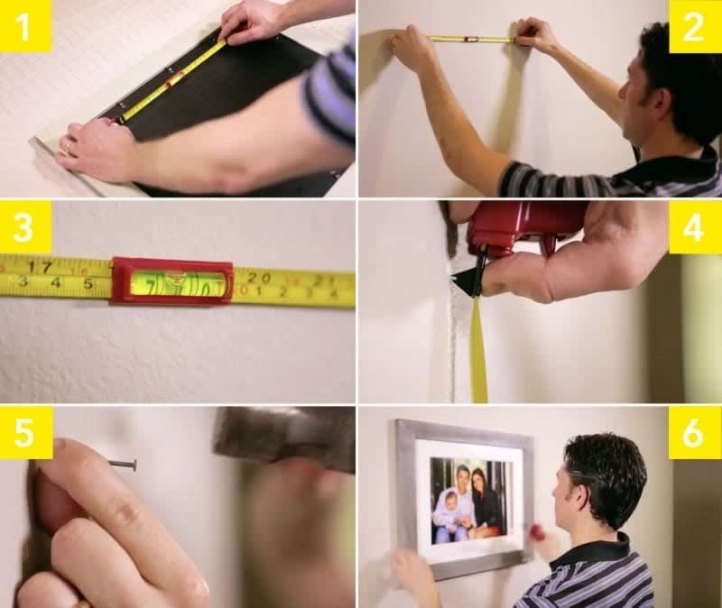Six photos showing the progression of using the tool to easily hang frames evenly