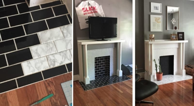 Reviewer's progress photos of using marble paper to individually cover each brick tile on their fireplace