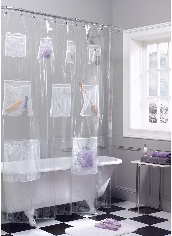 shower curtain with pocket storage