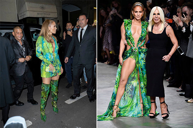 We Need to Discuss The Two Different Ways J.Lo Wore Her Iconic Green Dress At Milan Fashion Week