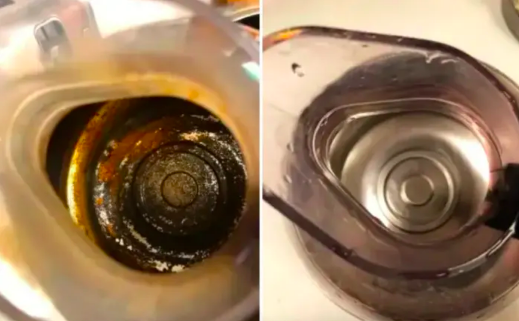 Coffee pot covered in gunk and wiped totally clean after soaking in product