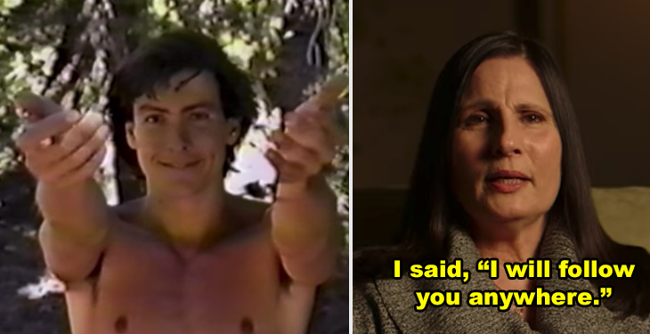 The leader of the Buffhafield cult, then a photo of a woman who was in the cult during an interview