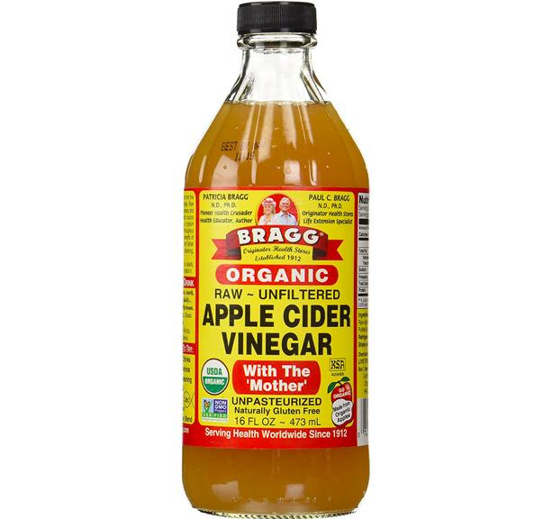 The bottle of Bragg Organic Apple Cider Vinegar