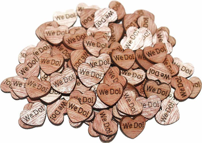 wooden hearts that says we do