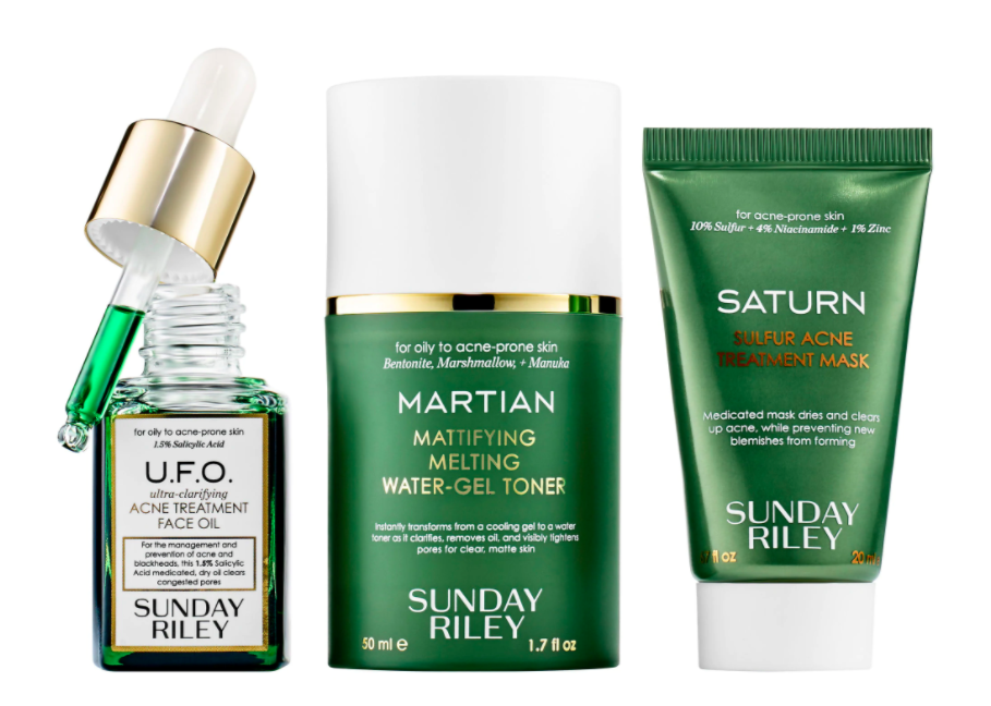 The Sunday Riley Space Race Fight Acne, Oil + Pores at Warp Speed Kit.
