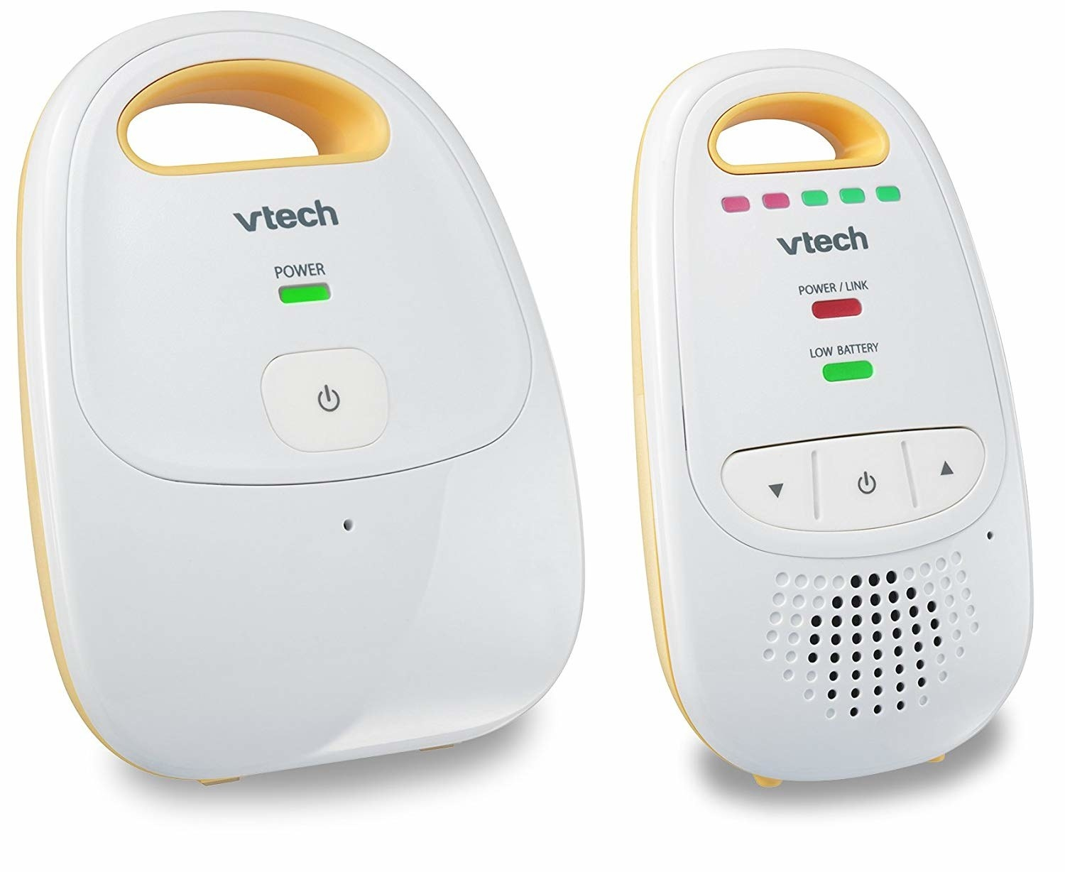 A round plastic baby monitor device with a walkie talkie next to it