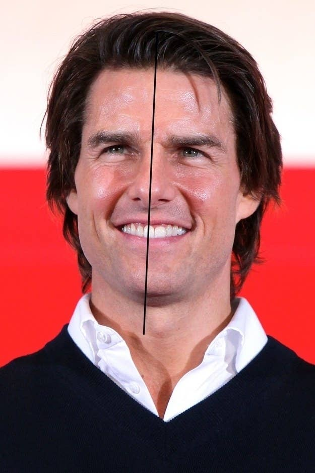 Tom Cruise with a line down his face showing it's not even
