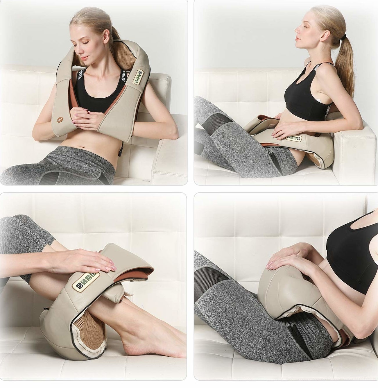 A model using the massager with arms and loops on the end on their shoulder, lower back, calves, and stomach.