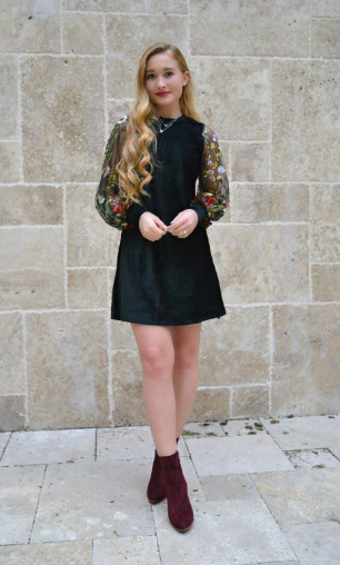 fall dress with booties