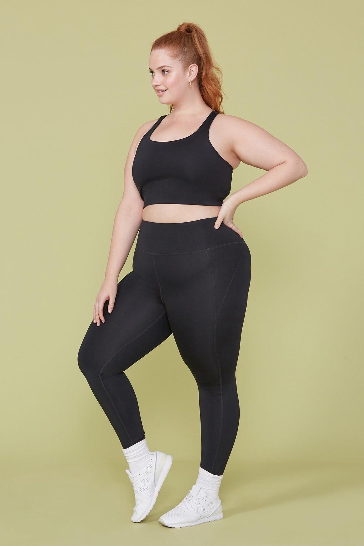 model wearing the high-waist stretch leggings in black