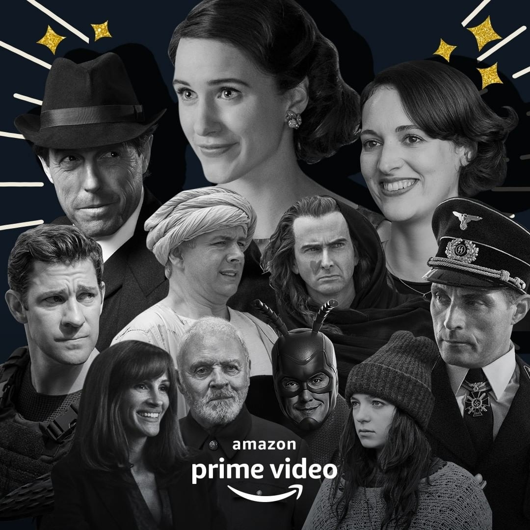 Collage of different actors from TV shows that are available in Amazon prime, including Fleabag, Marvelous Mrs. Maisel, and more.