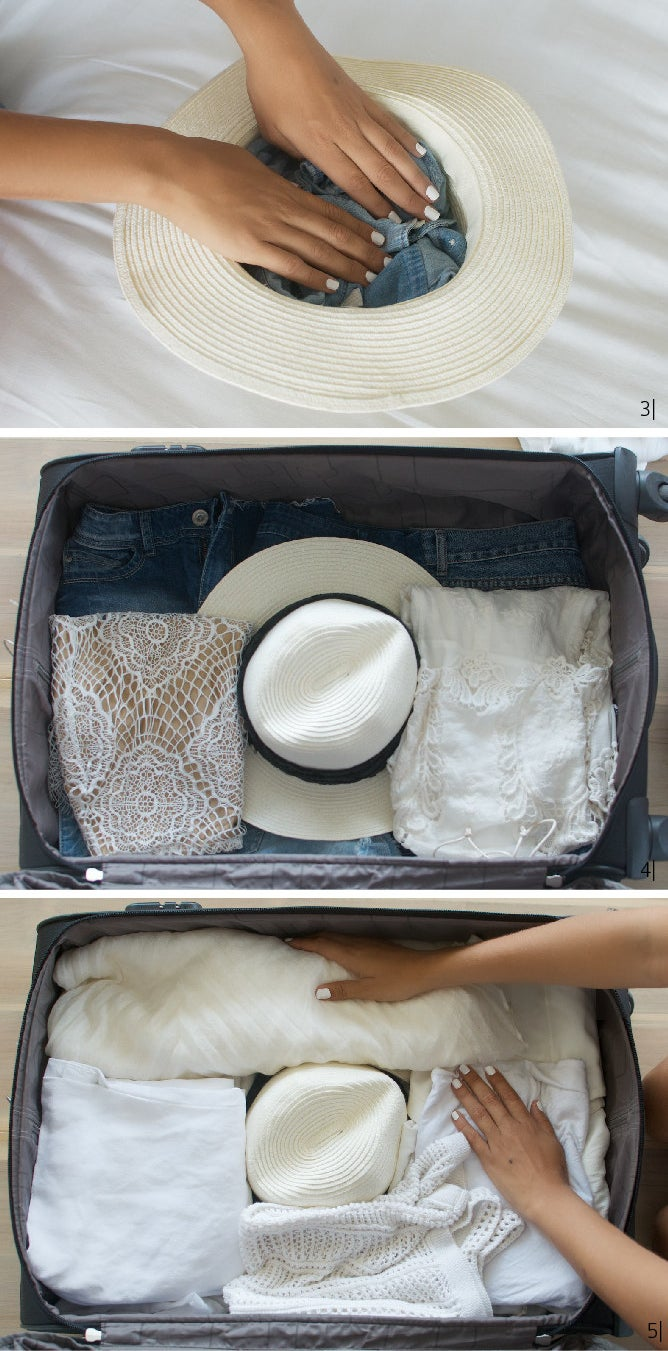Images of clothing being backed in and around a hat