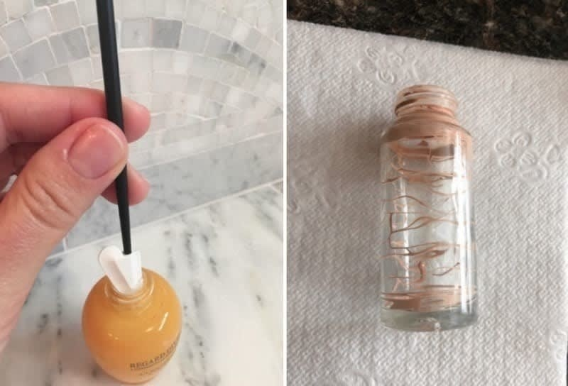 Reviewer using the tiny spatula to remove product from a small bottle, and a side profile of a makeup bottle with tons of the remaining foundation scraped out