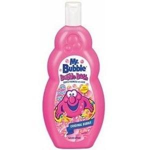 A product shot of Mr. Bubble bottle