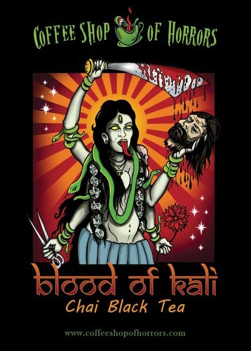 the cover of the bag with a grisly illustration of Kali