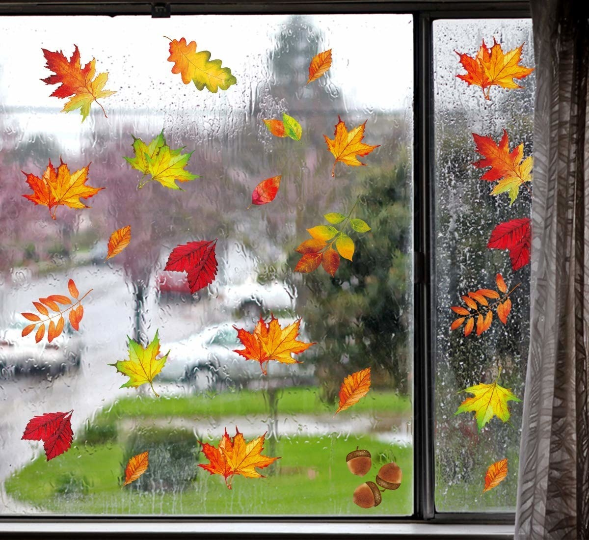 The leaves window clings are green, orange, red, and brown