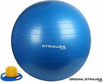 Navy blue gym ball.