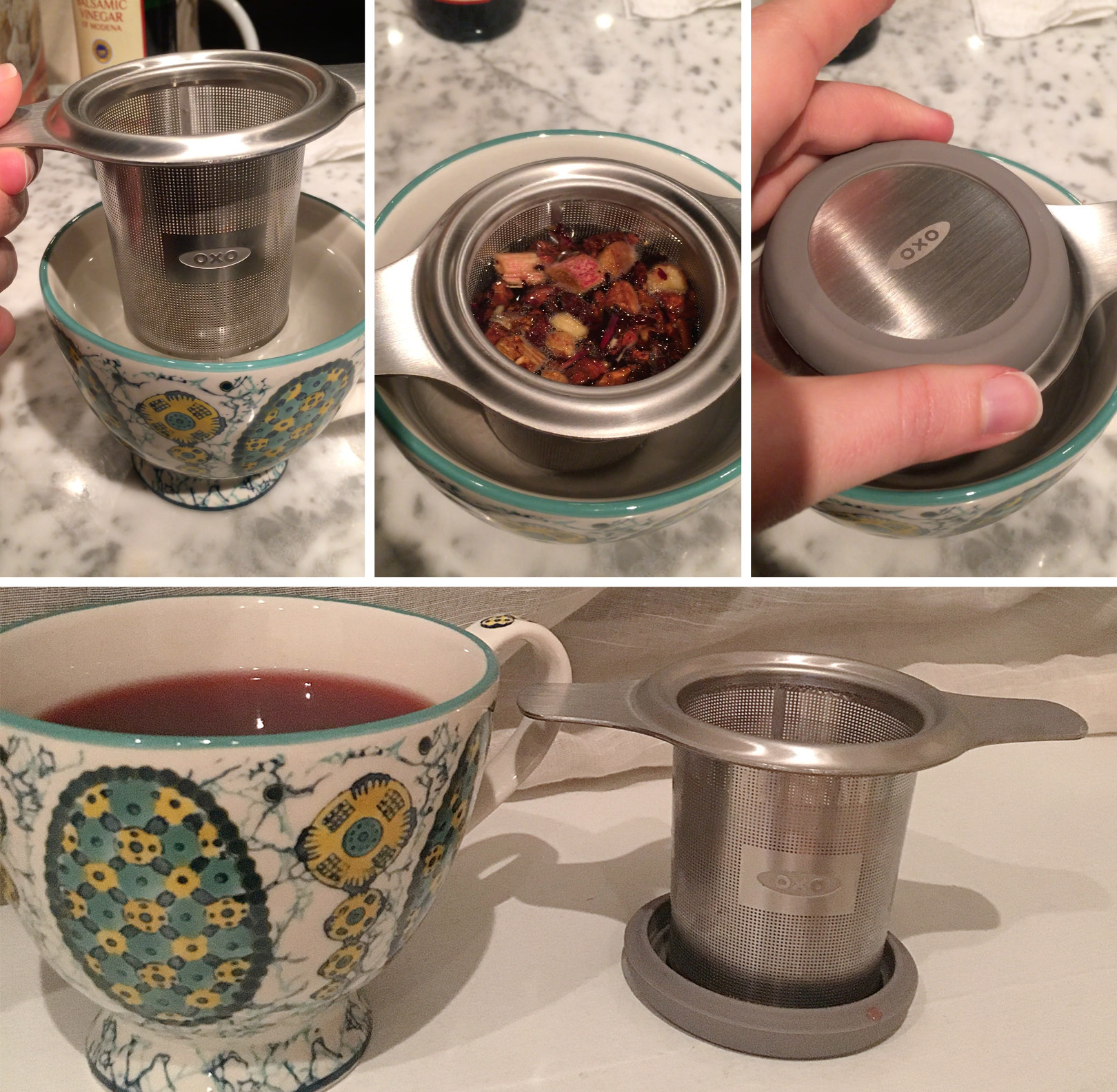 a series of images showing the progression of using the tea infuser