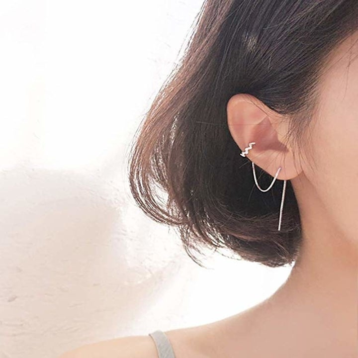 the cuff looped on an ear